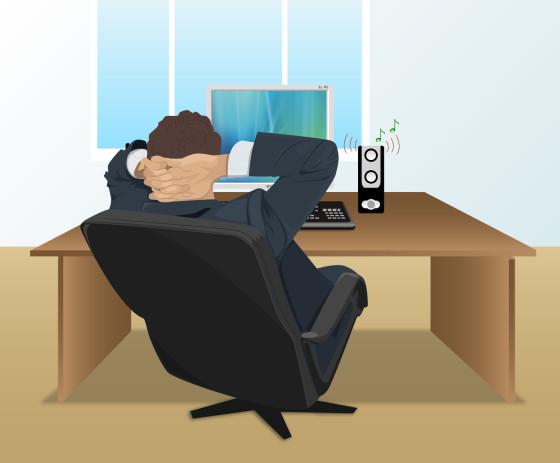 Man listening music at work